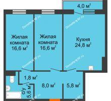 3 комнатная квартира 81,2 м² в ЖК Светлогорский переулок, дом № 1, строение 1 - планировка