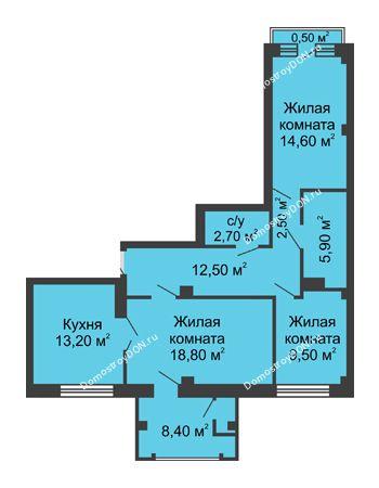 3 комнатная квартира 88,6 м² - ЖК Династия на Соборном