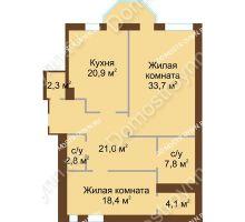 2 комнатная квартира 111 м², Жилой дом: ул. Минина д. 1а - планировка