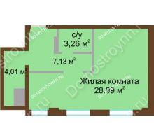 1 комнатная квартира 43,39 м² в ЖК Дом с террасами, дом № 1