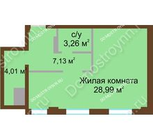1 комнатная квартира 43,39 м² в ЖК Дом с террасами, дом № 1 - планировка