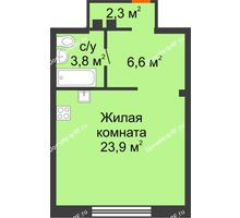 Студия 36,6 м², ЖК Красный дом - планировка