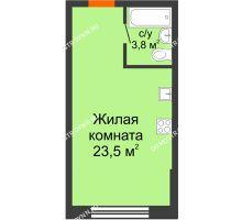 Студия 27,3 м² в ЖК Подкова на Родионова, дом № 2 - планировка