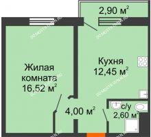 1 комнатная квартира 35,57 м² в ЖК Бурнаковский, дом № 48 - планировка