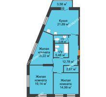 3 комнатная квартира 96,3 м², ЖК На Высоте - планировка