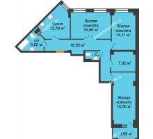 3 комнатная квартира 96,28 м² в ЖК Кристалл, дом Литер 1 - планировка