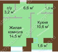 1 комнатная квартира 39,4 м² в ЖК Рубин, дом № 67