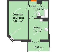 1 комнатная квартира 41,1 м², Жилой дом по ул.Минской 43/3 - планировка