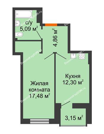 1 комнатная квартира 41,31 м² в ЖК Аврора, дом № 3