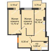 2 комнатная квартира 58,75 м² в ЖК Сердце Ростова 2, дом Литер 4 - планировка