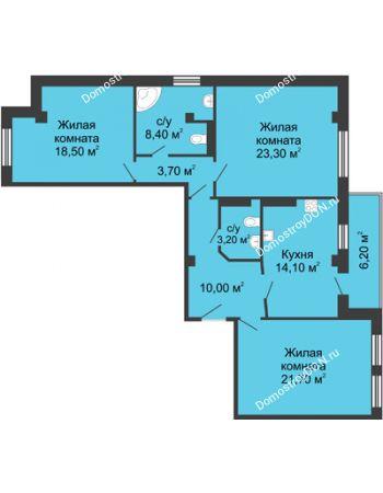 3 комнатная квартира 106 м² - ЖК Дом на Береговой