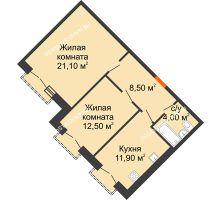 2 комнатная квартира 56 м², Жилой дом: г. Дзержинск, ул. Кирова, д.12 - планировка