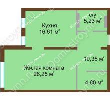 1 комнатная квартира 64,5 м² в ЖК Дом с террасами, дом № 1