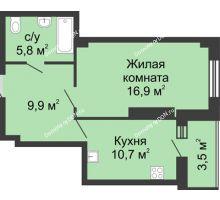 1 комнатная квартира 46,8 м² в ЖК Звездный, дом № 5