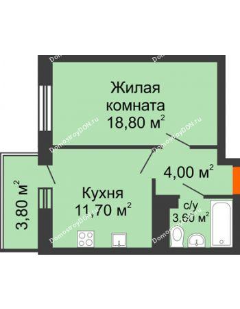 1 комнатная квартира 38,1 м² в ЖК Я, дом  Литер 2