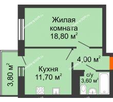1 комнатная квартира 38,1 м² в ЖК Я, дом  Литер 2 - планировка