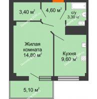 1 комнатная квартира 38,18 м² в ЖК Грин Парк, дом Литер 1 - планировка