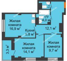 3 комнатная квартира 60 м² в ЖК Тихая Гавань на Якорной, дом № 1