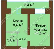 1 комнатная квартира 36,6 м² в ЖК Рубин, дом № 67