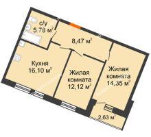 2 комнатная квартира 59,45 м² в ЖК Книги, дом № 1 - планировка