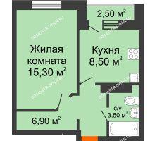 1 комнатная квартира 34,2 м² в ЖК Торпедо, дом № 1