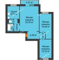 3 комнатная квартира 75,08 м² в ЖК Иннoкeнтьeвcкий, дом №7а - планировка