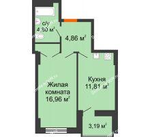 1 комнатная квартира 40,03 м² в ЖК Аврора, дом № 2 - планировка