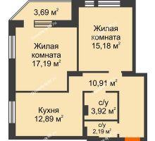 2 комнатная квартира 65,97 м² в ЖК Континент, дом № 16 - планировка
