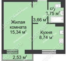 1 комнатная квартира 32,26 м² в ЖК Тридесятое, дом № 23 - планировка