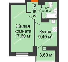 1 комнатная квартира 38,2 м², ЖК Zапад (Запад) - планировка