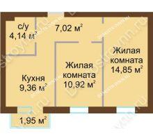 2 комнатная квартира 46,88 м² в ЖК Каменки, дом №14