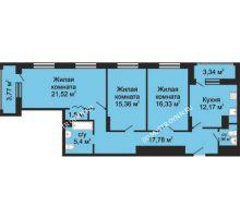 3 комнатная квартира 95,58 м², ЖК Гелиос - планировка