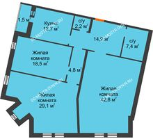 3 комнатная квартира 133,9 м², Жилой дом: ул. Варварская - планировка