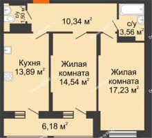 2 комнатная квартира 64,15 м² в Макрорайон Амград, дом №1 - планировка