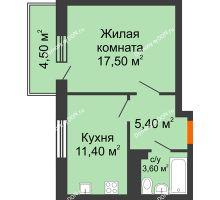 1 комнатная квартира 39,9 м² в ЖК Я, дом  Литер 2 - планировка