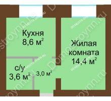 1 комнатная квартира 29,6 м² в ЖК Рубин, дом № 67