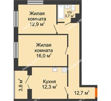 2 комнатная квартира 60,4 м² в ЖК Современник, дом Позиция 7 - планировка