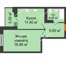 1 комнатная квартира 38,3 м² в ЖК Вересаево, дом Литер 5/1 - планировка