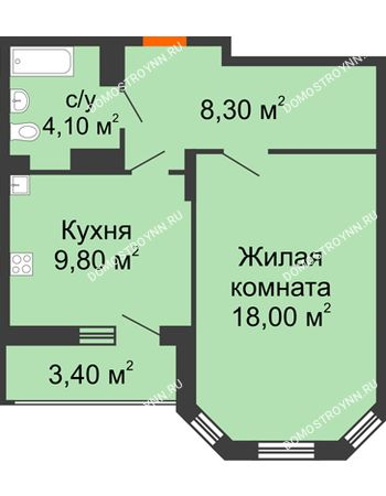 1 комнатная квартира 41,9 м² в ЖК Цветы, дом № 6-2