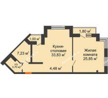 2 комнатная квартира 77,89 м² в ЖК Соборный, дом № 1 - планировка
