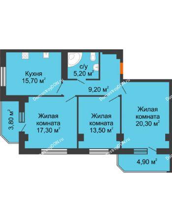 3 комнатная квартира 89,9 м² - Жилой Дом пр. Чехова