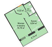 1 комнатная квартира 36,76 м², ЖК Розмарин - планировка