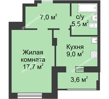 1 комнатная квартира 41 м² в ЖК Аквамарин, дом №2
