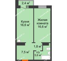 1 комнатная квартира 49,3 м² в ЖК Курчатова, дом № 10.1 - планировка