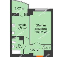 1 комнатная квартира 38,22 м² в ЖК Университетский 137, дом Секция С1 - планировка