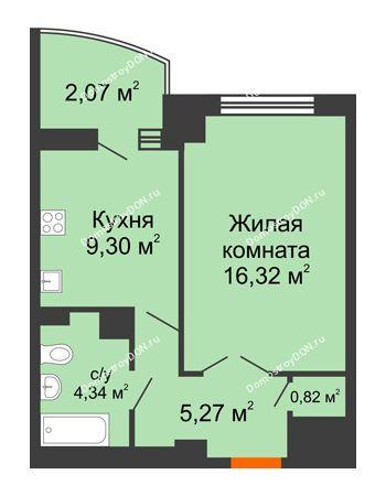 1 комнатная квартира 40,28 м² в ЖК Университетский 137, дом Секция С1