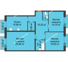 3 комнатная квартира 98,2 м², Жилой дом: г. Дзержинск, ул. Кирова, д.12 - планировка