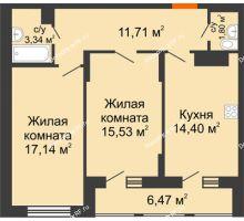 2 комнатная квартира 67,16 м² в Макрорайон Амград, дом №1 - планировка