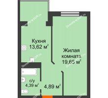 1 комнатная квартира 42,55 м², ЖК Зеленый квартал 2 - планировка