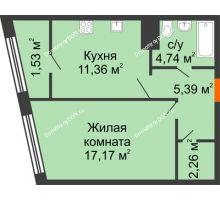 1 комнатная квартира 42,39 м² в Микрорайон Красный Аксай, дом Литер 21